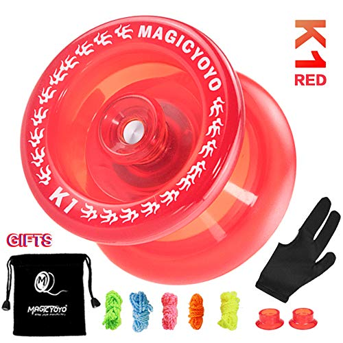 MAGICYOYO Plastic Yoyo for Beginner, Responsive Yoyo K1 Durable Use, Hubstack Basic Yoyo Yoyo Bag + 5 Strings + Yo-Yo Glove Gift ( K1 Crystal Red)