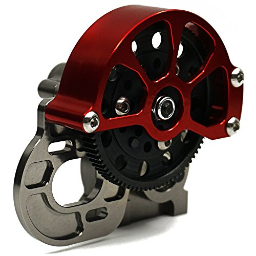 (Full Metal Assembled Transmission Case /Gearbox with Straight Gear for 1/10 Axial SCX10 RC Model Crawler Car Titanium)