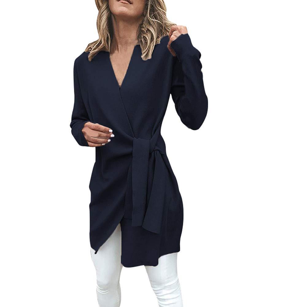 Rovinci☆ Abrigos de Mujer Elegante Ocasional Atado V Cuello Abierto Frente Traje Chaqueta Cinturón Outwear Abrigo Abrigo Abrigos: Amazon.es: Ropa y ...