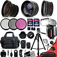 """Ultimate 37 Piece Accessory Kit for Canon Mark II EOS 70D 60D 60Da EOS Rebel T6i T6S T5i T5 T4i T3i T3 700D 650D 600D T2i SL1 EOS M EOS M2 5D Mark II EOS 5D Mark III EOS 1200D 1100D 100D 550D EOS REBEL XS XSi XT XTi Kiss X50 kiss X70 Kiss X7i Kiss X6i Kiss X5 kiss X4 DSLR Cameras Includes: 58mm Super High Definition FishEye Lens + 58mm High Definition 2X Telephoto Lens + 58mm High Definition Wide Angle Lens + Pro Speedlight Flash + 32GB High Speed Memory Card + 16GB High Speed Memory Card + Professional Full Size 72"""" Inch Tripod + Large Well Padded Case + 58mm 3 Piece Glass Filter Set (UV Filter + CPL Filter + ND Filter) + 58mm Lens Cap + Lens Cap Holder + Universal Camera Remote Control + 2 Lens Pouches + Universal Card Reader + Flexible Mini Table Tripod + Memory Card Case Holder + Screen Protectors + Mini Blower + Cleaning Pen + Deluxe Cleaning Kit + Ultra Fine HeroFiber Cleaning Cloth"""