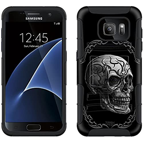 Samsung Galaxy S7 Armor Hybrid Case Tattoo Skull on Black 2 Piece Case with Holster for Samsung Galaxy S7 Sales
