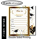 Graduation Party Invitation with Envelope-30 Pcs with Gold Foil Embossed-Fill In Invite Card for Supplies,Favor,Decoration,Activities,Game-Grad Celebration Announcement for 2018 High School,College