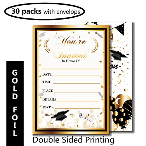 Graduation Party Invitation with Envelope-30 Pcs with Gold Foil Embossed-Fill In Invite Card for Supplies,Favor,Decoration,Activities,Game-Grad Celebration Announcement for 2018 High School,College (School High Party Graduation Invitations)