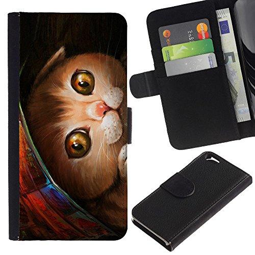 EuroCase - Apple Iphone 6 4.7 - painting kitten pet American shorthair - Cuir PU Coverture Shell Armure Coque Coq Cas Etui Housse Case Cover