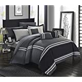 Chic Home 10 Piece Zarah Supersoft Oversized Pieced Color Block Banding Collection Comforter Set, King, Grey