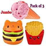Viccent Pack of 3 Jumbo Slow Rising Squishies Kawaii Cat...