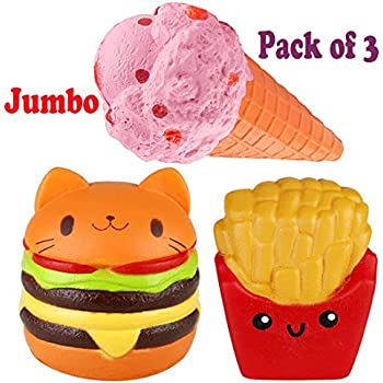 Viccent Pack Of 3 Jumbo Slow Rising Squishies Kawaii Cat Hamburger Fries Ice Cream Scented Bread