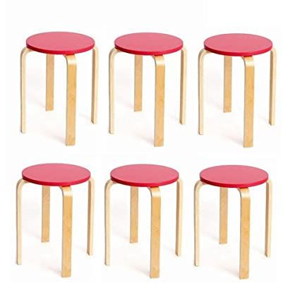Admirable Bycsd Pack Of 6 Wooden Round Stool Anti Slip Bent Wood Theyellowbook Wood Chair Design Ideas Theyellowbookinfo