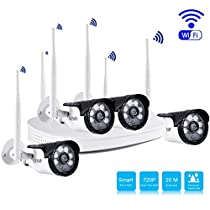 Security Camera System, LESHP CCTV HD 720P IP Camera 4 Channel Wireless Wi-Fi Home Surveillance Video with Super Day/Night Vision, IP65 Weatherproof, No HDD