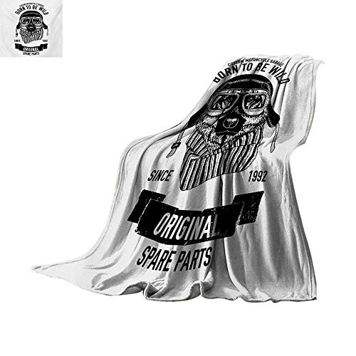 "Price comparison product image Modernfluffy blanketBorn to be Wild Quote with A Cool Dog Motorcycle Helmet Puppy Rider Animal Graphicbed Blanket 80""x60"" Black White"