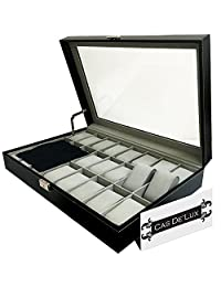 Watch Box Organizer Pillow Case - 24 Slot Luxury Premium Display Cases With Framed Glass Lid Elegant Contrast Stitching Sturdy & Secure Lock for Men and Women Watch & Jewelry Large Holder Boxes Gift