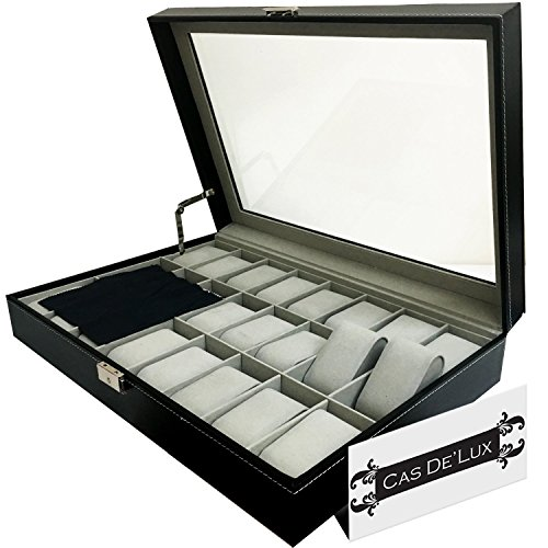 Watch Display Case - Watch Box Organizer Pillow Case - 24 Slot Luxury Premium Display Cases With Framed Glass Lid Elegant Contrast Stitching Sturdy & Secure Lock for Men and Women Watch & Jewelry Large Holder Boxes Gift