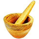 Handmade Indian Rosewood Mortar and Pestle Set Natural Rustic Style Herb Spice Grinder Masala Mixer Manual Kharal Mashing Bowl Seasonings Pill Crusher Kitchen Utensils Housewarming Gift Ideas