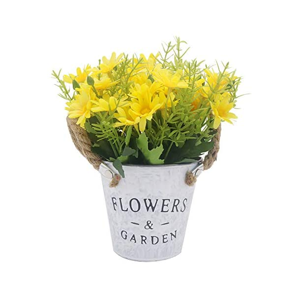 Vivifying Artificial Chrysanthemum Flowers, Fake Flowers Potted with Stems for Home Office Party Decoration (Yellow)