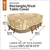 Classic Accessories Veranda Oval/Rectangular Patio Table & Chair Set Cover - Durable and Water Resistant Outdoor Furniture Cover, Pebble, Large, up to 108 Inches Long (70932)