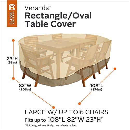 Classic accessories veranda oval rectangular patio table for Oval patio set cover