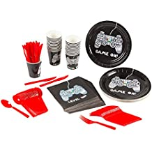 Disposable Dinnerware Set - Serves 24 - Video Game Party Supplies - Includes Plastic Knives, Spoons, Forks, Paper Plates, Napkins, Cups
