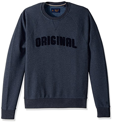 - Original Penguin Men's Long Sleeve Boucle Sweat, Dark Sapphire, Medium