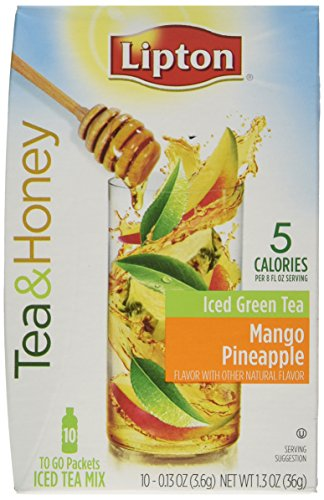 Lipton Tea & Honey To-Go Packets - Mango Pineapple Iced Green Tea - 10 ct, 1.3 OZ - 3 pk ()