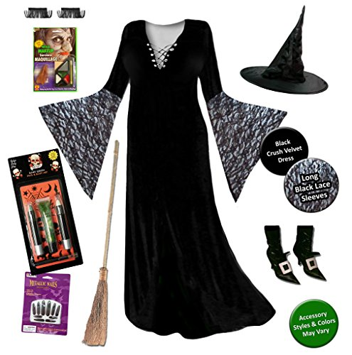 Super Deluxe Witch (Witch Plus Size Supersize Halloween Costume Black Lace Deluxe No Wig Kit (2xT))