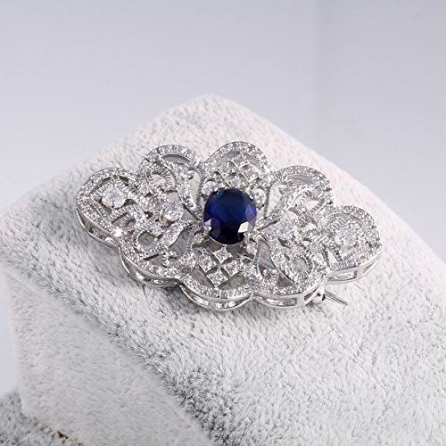 GULICX Royal Brooch Art Deco Silver Plated Base Art Deco Blue Cubic Zirconia Sapphire Color Pin for Women by GULICX (Image #1)