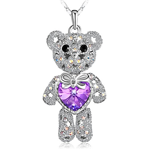 PLATO H Lovely Cute Animal Bear Pendant Neckalce Love Heart Bear Necklace Teddy Bear Charm Pendant Necklace With Swarovski Crystal, Purple (Swarovski Crystal Teddy Bear)