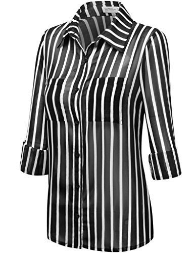 FPT Womens Striped Sheer Chiffon Button Down Shirt With Roll-Up Sleeves BLACK LARGE
