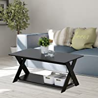 Furinno Modern Simplistic Criss-Crossed Coffee Table, Espresso
