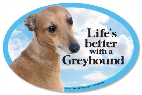Greyhound Oval Dog Magnet for Cars (Greyhound Dog Magnet)