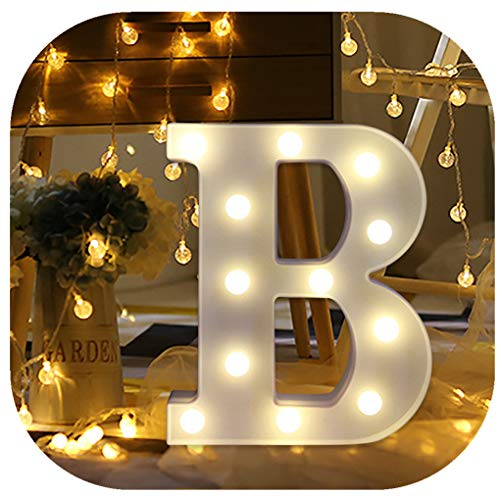 Hot Sale Alphabet LED Letter Lights, Keepfit Light Up White Plastic Letters Standing Hanging for Home Party Bar Wedding Decoration (B, 8.7