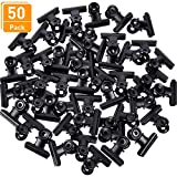 Blulu 1.25 inch Metal Hinge Clips, Chip Clips Bag Clips Hinge Clamp File Binder Clips for Home Office Supplies, 50 Pack (Black)