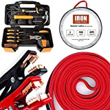 Orange 39 Piece Tool Box Kit - Small Basic Home Tool Set - Great for College Students, Household Use & More (Auto Kit: 6 Gauge Booster Cable with Tool Set)