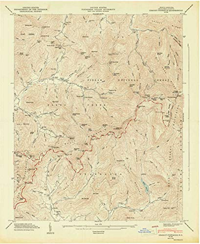 (YellowMaps Craggy Pinnacle NC topo map, 1:24000 Scale, 7.5 X 7.5 Minute, Historical, 1947, Updated 1947, 27 x 22 in - Paper)
