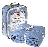 HILLFAIR 100% Ringspun Combed Cotton Blanket - Herringbone Cotton blanket- Twin Blankets - Cotton Thermal Blankets - Soft Light Weight Cotton Blanket – Twin Bed Blankets– Blue Cotton Blankets by