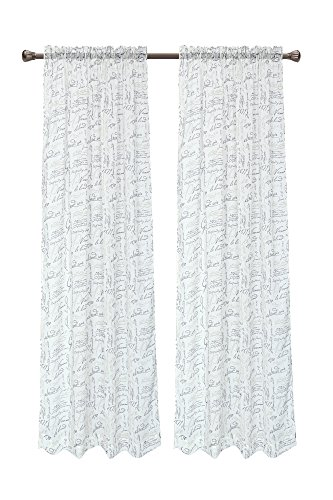 Pack of 2, CaliTime French Script Faux Linen Soft Semi Sheers Rod Pocket Window Curtain Panels for Bedroom, 55