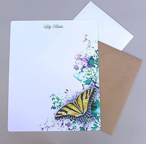 Swallowtail Butterfly Women's Personalized Stationery Set With Envelopes, Girl's Complete Monogrammed Stationary Paper, Custom Letter Writing Kit, Garden Inspired Correspondence Sheets