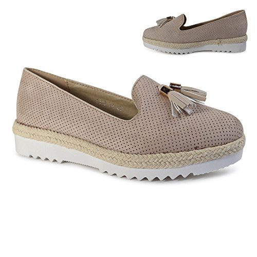 ... Schuhtraum Damen Slipper Plateau Sneakers Ballerinas Glitzer Nieten  ST551 Beige Quaste ... 7e705dc666
