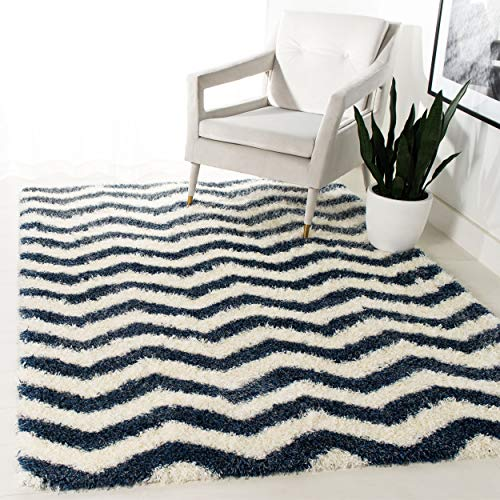 Safavieh Montreal Shag Collection SGM846A Ivory and Blue Area Rug (3' x 5') (Chevron Navy Rug Area)