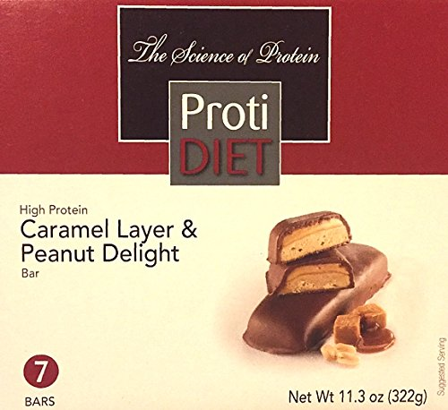 ProtiDiet High Protein Caramel Layer & Peanut Delight Bar - 7 servings - 15 g protein per serving
