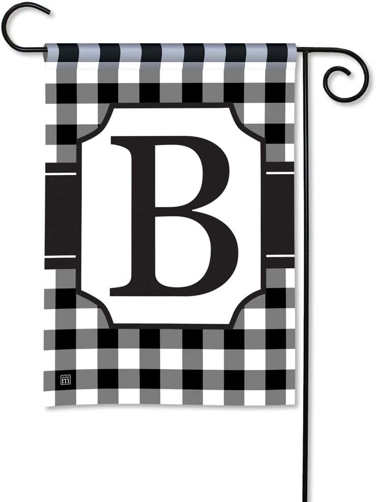 BreezeArt Studio M Black & White Check Monogram B Decorative Garden Flag – Premium Quality, 12.5 x 18 Inches