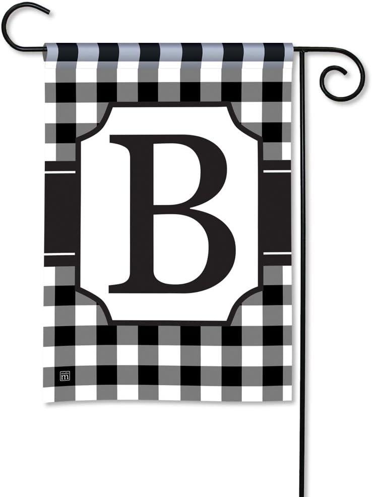 BreezeArt Studio M Black & White Check Monogram B Decorative Garden Flag – Premium Quality, 12.5 x 18 Inches