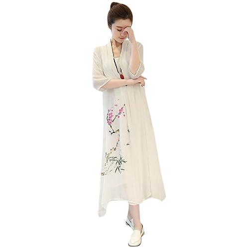 QIYUN.Z Vestito Irregolare Dalla Biancheria Di Stile Etnico Delle Donne