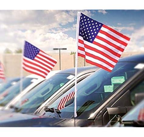 Pack of 12//10 Julysgift US American Car Flag Window Clip 17 x 12 100