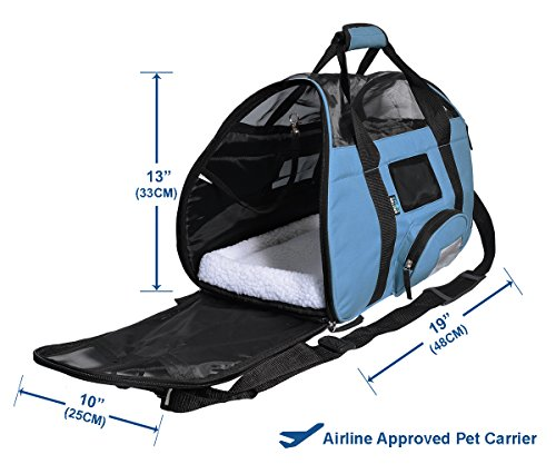 KritterWorld Soft Sided Pet Travel Carrier for Small Dogs and Cats Puppy Small Animals Airline Approved | Removable Sherpa Lining Bed, Built-in Collar Buckle, Lost & Found Tag Included by Black by KritterWorld (Image #1)