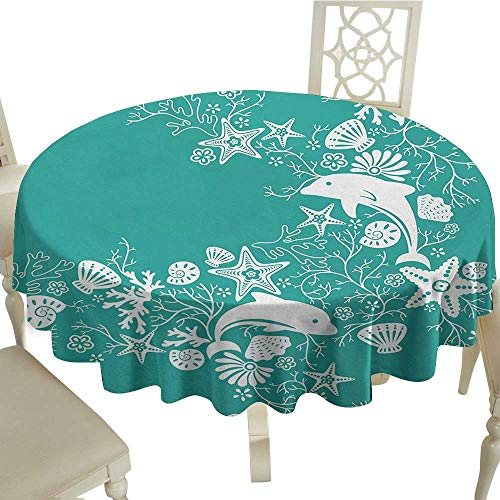 longbuyer Round Tablecloth Vinyl Fitted Sea Animals,Dolphins Flowers Sea Life Floral Pattern Starfish Coral Seashell Wallpaper,Sea Green White D70,for Accent Table ()
