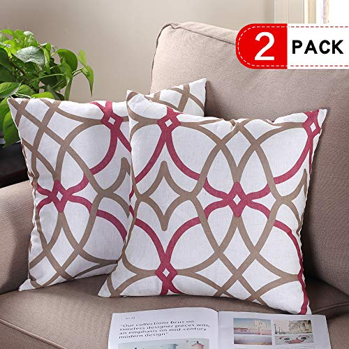 H.VERSAILTEX Soft Square Throw Pillow Covers Set Line Mixed Rich Material Linen Cushion Cases Pillowcases for Sofa Bedroom (Pack of 2), Size 18 x 18 Inch - Geo in Taupe & Red