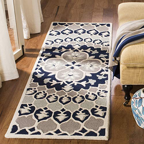 Safavieh Bellagio Collection BLG610C Navy Blue and Ivory Medallion Runner 2 3 x 7