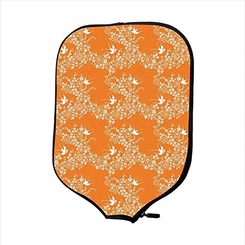 CANCAKA Neoprene Pickleball Paddle Racket Cover Case,Orange,Asian Style Spring Meadow Pattern with Branches in Full Blossom with Birds Nature,Orange White,Fit for Most Rackets