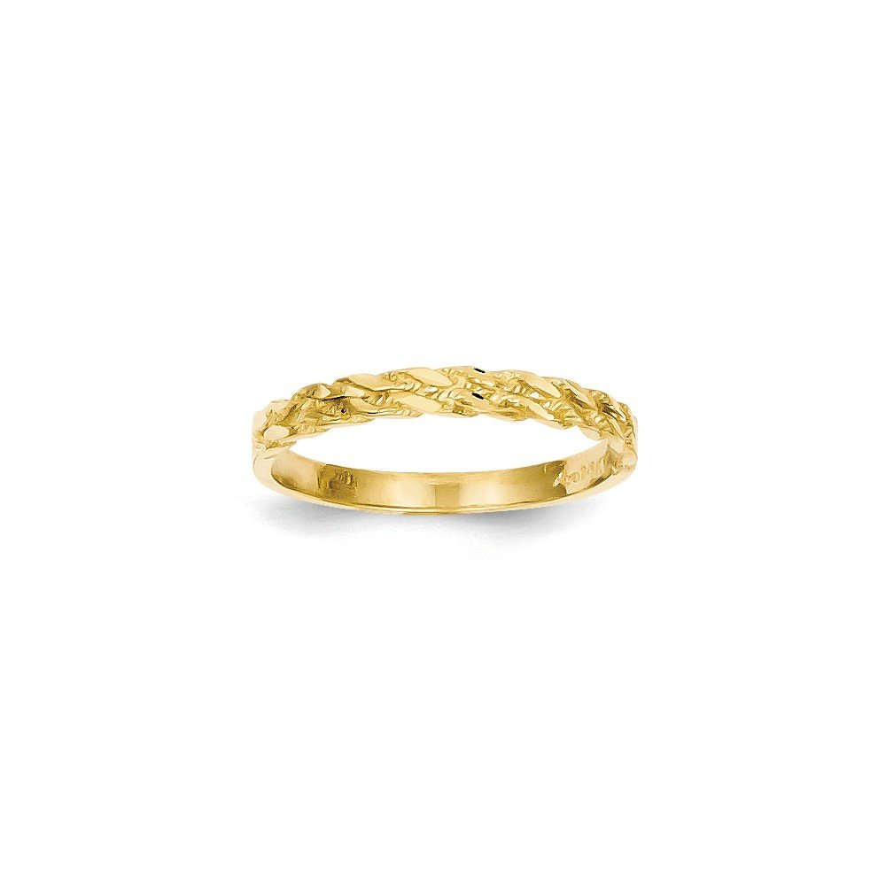 Size 7 - Solid 14k Yellow Gold Diamond-Cut Rope Ring (3mm)