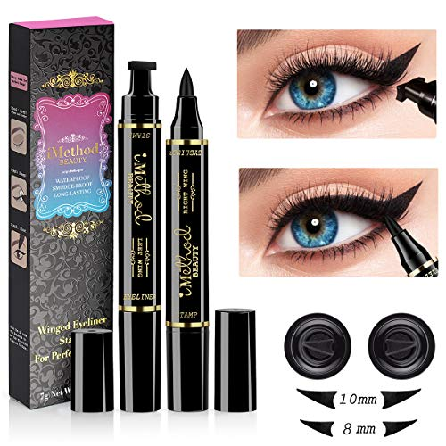 (iMethod Wing Eyeliner Stamp - 2 Pens Left & Right Dual Ended Liquid Winged Eye Liner Pen, Perfect Winged Cat Eye Look, Waterproof, Smudgeproof and Sweatproof, Vamp Style Wing, No Dipping Required)